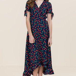 Blue Cherry Print Ruffle Hem Wrap Maxi Dress Sz S